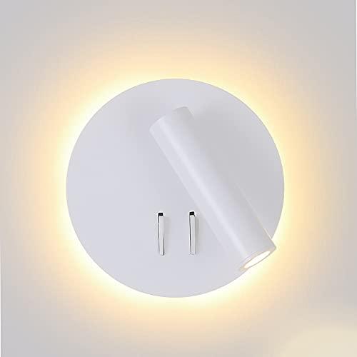 Tanktoyd Lámpara de pared LED Nordic Modern 3W Spotligh 6W Retroiluminación Aplique de rotación libre Luz de pared interior para el hogar Dormitorio Luz de noche Aplique de pared industrial Luz cálida