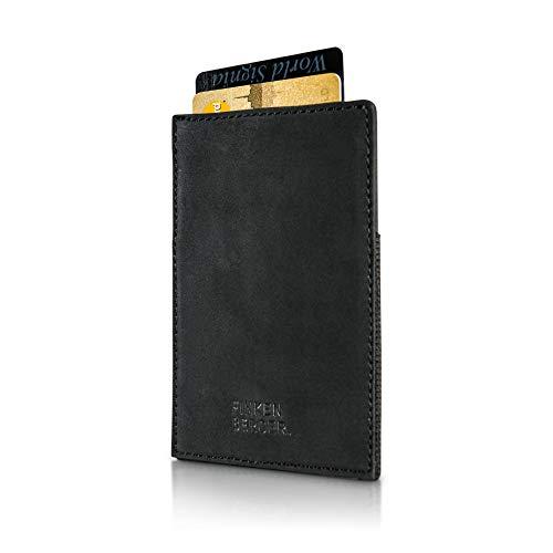 FINKENBERGER® Herren Slim Wallet I Das dünne Echt-Leder Kartenetui mit RFID Schutz ist ideal für alle Karten I ohne Münzfach I Wallet 1