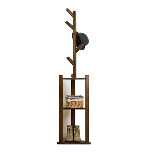 Yhjkvl Perchero de madera maciza montado Perchero Perchero para abrigos de sombrero, perchas, exhibición de piso, ganchos para colgar ropa de dormitorio, organizador de ropa