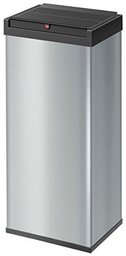 Hailo Big-Box Swing XL Mülleimer | 1 x 52 Liter | selbstschließender Schwingdeckel | Stahlblech | Müllbeutel-Klemmrahmen | Mülleimer Küche rechteckig | Abfalleimer made in Germany | silber