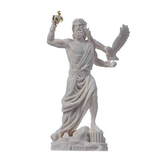 Zeus griechischer Gott Jupiter Donner Statue Figur Alabaster 18 cm