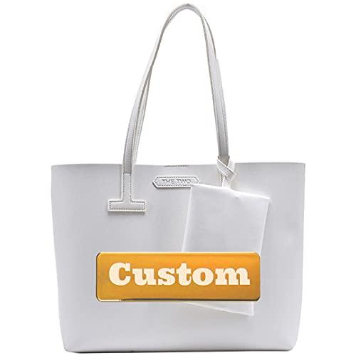 Personalizzato Nome Grandi Donne Tote Bag In Pelle Nera Grandi Donne Tote Bag Borse per Ragazze, bianco, Taglia unica,