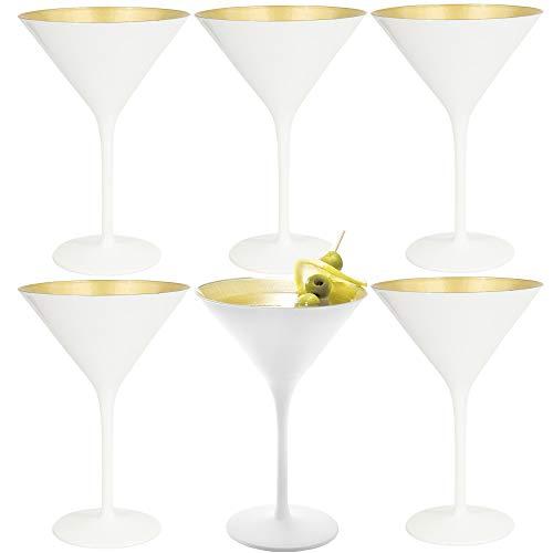 Stolzle (6 Pack) Glisten 8.5oz Martini Glass Set Glossy White Crystal Martini Glasses With Metallic Finish Barware Glasses