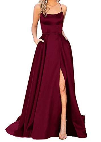 W&TT Damen Spaghetti Satin Lange Ballkleider Rückenfreies Abend Brautjungfer Pageant Kleid mit Taschen,WineRed,US6
