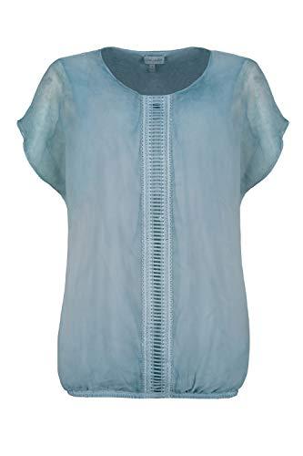 GINA LAURA Damen Bluse, doppellagig, Oversized, Chiffon, Jerseytop Lagune 3XL 725284 75-3XL