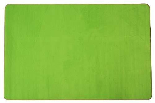 Primaflor - Ideen in Textil Kinder-Spiel-Teppich Einfarbig SITZKREIS - Grün, 140x200 cm, Velour-Kurzflor-Teppich für Kinderzimmer, Kindergärten und Schulen