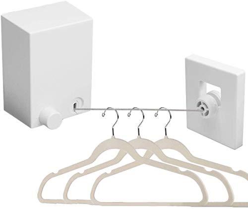 Cuerda de acero inoxidable retráctil de Ahuntter, extensible, 4,2 m, montada en la pared, ajustable, para interior, balcón, lavandería