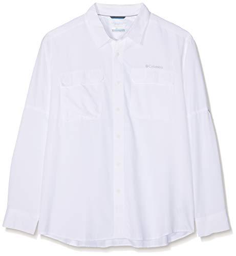 Columbia Camisa de Excursionismo de Manga Larga para Hombre, Silver Ridge II Long Sleeve Shirt, Blanco, M