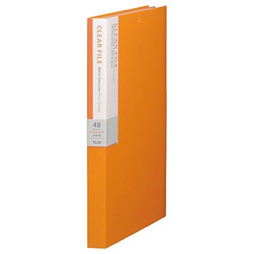 プラス クリアファイル A4縦 48ポケット デジャヴ 89-706 ネーブルオレンジ