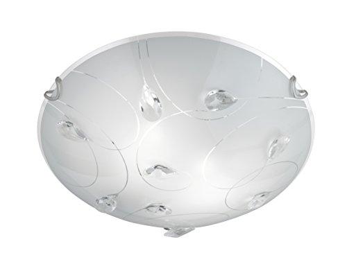 Trio Leuchten Deckenleuchte Carbonado 602400206, Glas weiß, Glasdekor klar, 2 x E27