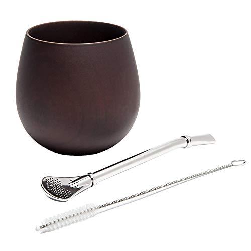 Dasing Yerba Mate - Juego de té de madera natural con diseño de calabaza (taza mate), con pincel de paja, 200 ml (profundidad)