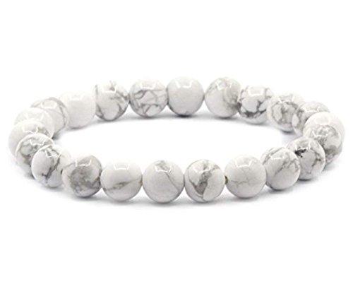 Natural White Howlite Gemstone Bracelet 7.5 inch Stretchy Chakra Gems Stones Healing Crystal Birthday Gift (Unisex) GB8-B23