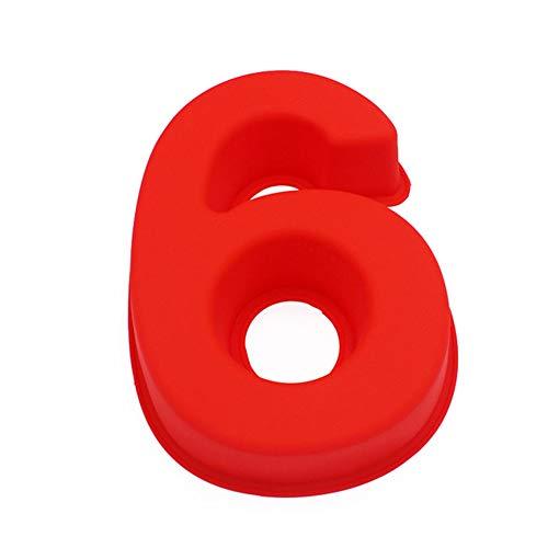3D-Silikonformen, große Silikon-Buchstaben 6, arabische Zahlen, Fondant, Kuchen, Backform für Geburtstag, Festival, BD, Beziehung, Hochzeit, Party, 25,4 cm (6)