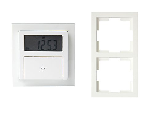 Digitale Unterputz Zeitschaltuhr ca. 140 Schaltung pro Woche, inklusive Doppelrahmen, max. 1800 Watt