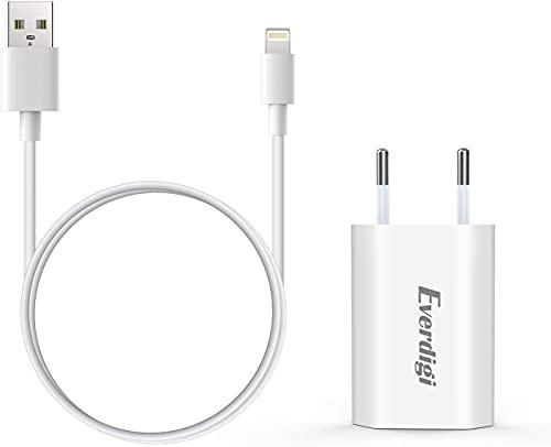 Everdigi Cargador Enchufe Adaptador USB Cable de Carga para Phone Blanco Tres Pies