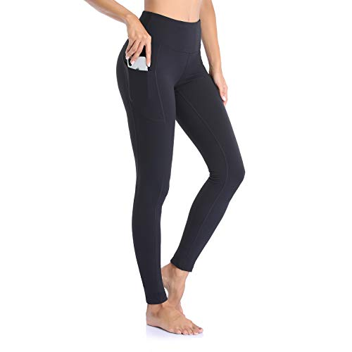 Ollrynns Leggins Deportivos Mujer CinturaAlta Pantalones Deportivos Mallas Leggings con Bolsillos paraRunningTraining Fitness CA166 (Negro, Medium)
