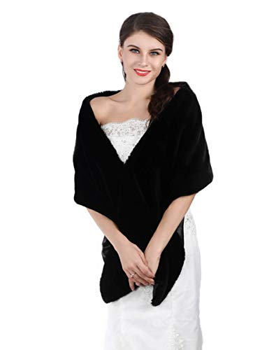 Aukmla Bridal Wraps and Shawls Fur Stole for Women and Girls. (Black)