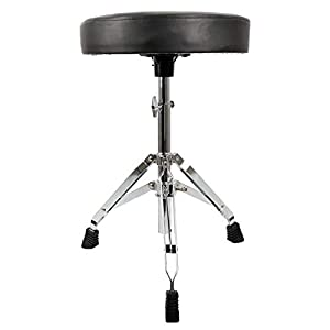 EastRock Universal Drum Throne,Height Adjustable Padded Drum Seat Drumming Stools with Anti-Slip Feet for Adults and Kids (Silver)