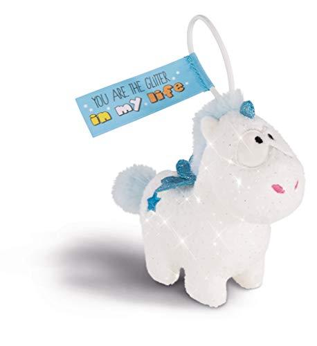 NICI 43253 Anhänger Einhorn-Baby Theolino mit elastischer Schlaufe, 11 cm, weiß/blau