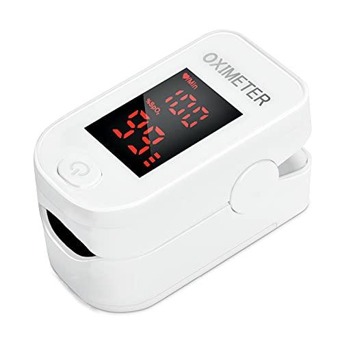 Pulse Oximeter Fingertip, Blood Oxygen Saturation Monitor Fingertip, Blood Oxygen Meter Finger Oximeter Finger with Pulse, O2 Monitor Finger for Oxygen (White)