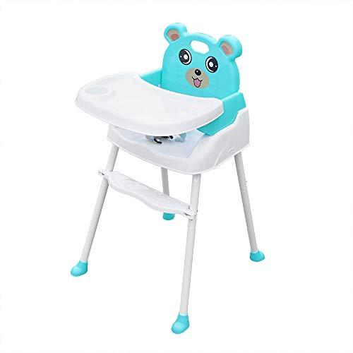 4 in 1 Baby Kinderhochstuhl, Verstellbarer Essstuhl Babystuhl Faltbar, Hochstuhl mit Tablett Sicherheitsgurt (Grün)