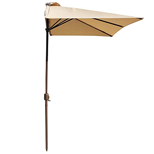 PARASOL 2.7m*1.4m Outdoor Half Umbrella Polyester Awning With Crank Handle Base Not Included, For Outdoor Garden Terrace Patio