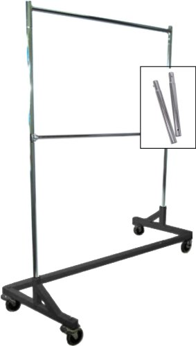 Only Hangers GR600EH-1 Extended Height Double-Rail Rolling Z Garment Rack with Nesting Black Base