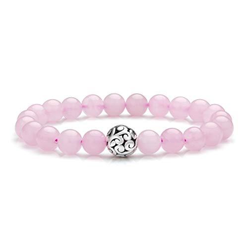Jovivi 8mm Bracelet Quartz Rose Pierre Naturelle Véritable avec Perle Argenté Fleur de Vie Extensible Elastique Tibétain Bouddhiste pour Femme Amis Cadeau
