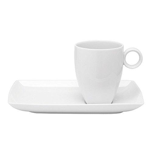 VISTA ALEGRE Carré White Bandeja + Mug, Porcelana, Blanco, 21.9 cm
