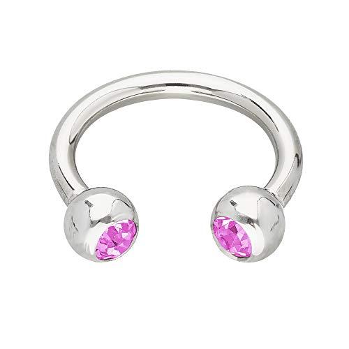 Treuheld®   Silbernes Hufeisen Piercing Ring mit Kristallen - [133.] 1.6 x 10 mm (Kugeln: 4mm) - pink/rosa
