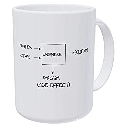 Willcallyou Engineer Problem Solution Side Effect Sarcasm 15 Ounces Double Side Printed Funny White Coffee Mug