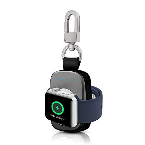FLAGPOWER Apple Watch Kabellose Power Bank iWatch 700mAh Externer Akku für Apple Watch Series 2/ Series 1/ Nike+ Smart Schlüsselanhänger [Apple MFI Zertifiziert] 2 in 1 iWatch Reise Power Bank (Grau)