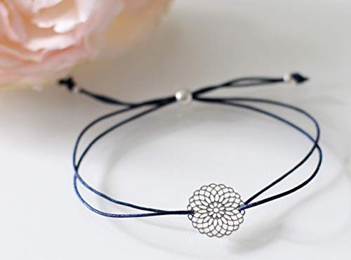 Armband Wunderblume silber farben, Macramee Armband viele Farben erhältlich, Blume des Lebens, Geschenk, Freundschaftsarmband, Lebensblume