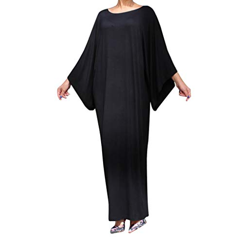 Lazzboy Ramadan Women Prayer Batwing Sleeve Abaya Muslim Islamic Dress Arab Robe Clothes(Schwarz,M)