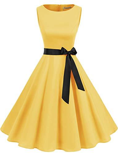 Gardenwed Damen 1950er Vintage Cocktailkleid Rockabilly Retro Schwingen Kleid Faltenrock Yellow S