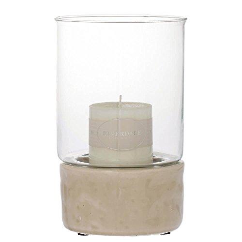 Riverdale Windlicht/Laterne Saintes aus Keramik und Glas beige 25,5 cm - modern - Lichtstück - Kerzenhalter - Weihnachten - Weihnachtslicht - Sommerfest - Gartenlaterne - Winter