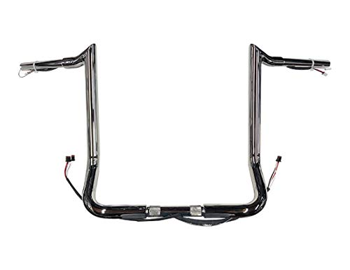 Dominator Industries 1 1/4' PRE-WIRED 14' Meathook Monkey Bar Ape Hangers Handlebars Compatible With 2014-2020 Harley-Davidson Bagger Electra & Street Glide Special Ultra Limited & Low (Chrome)