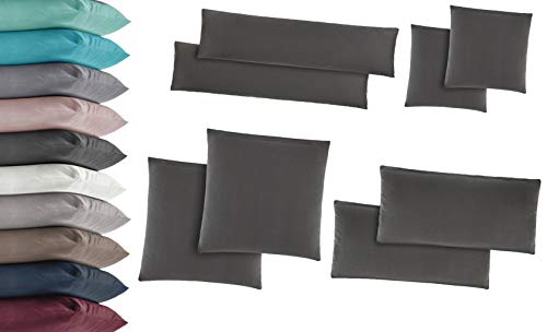 2er Pack Jersey Kissenbezug Kissenhülle Kissenbezüge Seitenschläferkissen 100% Baumwolle viele Größen und Farben 40x145 cm Altrosa