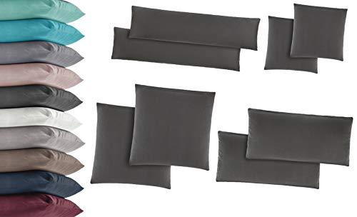 2er Pack Jersey Kissenbezug Kissenhülle Kissenbezüge Seitenschläferkissen 100% Baumwolle viele Größen und Farben 40x145 cm Grau