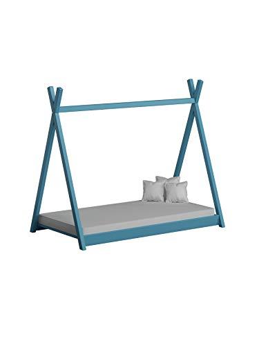 Children's Beds Home Lit à baldaquin Simple en Bois Massif - Style Tepee de Titus pour Enfants Enfants Enfant Junior - Pas de Matelas Inclus (140x70, Bleu)