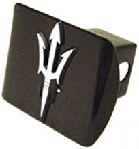 Electroplate Arizona State University Sundevils Black and Chrome with Pitchfork Emblem Metal Trailer Hitch Cover Fits 2 Inch Auto Car Truck Receiver with NCAA College Sports Logo