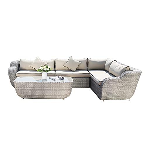 Conjunto de sofás Sofá Seccional Al Aire Libre, Muebles De Sofá De Patio Al Aire Libre De Ratán PE Fácil De Montar, Sofá De Patio para Piscina Y Mar