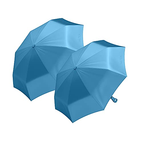 """2-Pack Nautica 3-Section Auto Open Umbrella - Sturdy Rainy Day Protection with Ergonomic Handle, 42"""" of Coverage (Blue)"""
