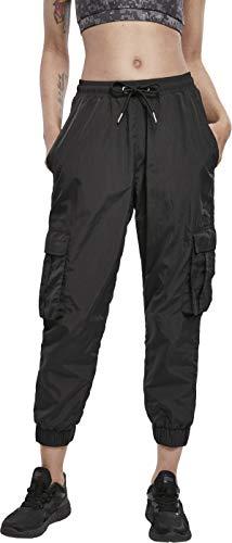 Urban Classics Damen Ladies High Waist Crinkle Nylon Cargo Pants Freizeithose, Black, XS