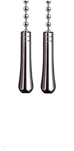 NewZC - Set di 2 catene di estensione a goccia con connettore a sfera 85 cm, per bagno, WC, luce da soffitto, interruttore per ventilatore, cavo cieco, maniglia per tirare, colore: Cromo