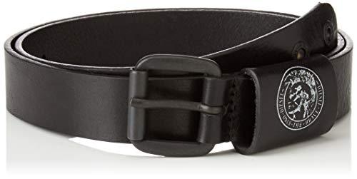 Diesel Cinturón para hombre B-ARRE, Cuero auténtico, Cierre con hebilla, Mohawk - Negro