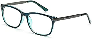 Blue Light Blocking Computer Reading Glasses (UV Protection,Transparent Lens) - Anti Glare/Blue Ray/Eyestrain for Men/Women(No Magnification, Transparent Blue)