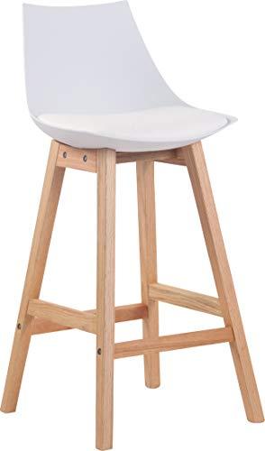 Taburete De Cocina Ashton En Estilo Nórdico I Taburete Alto con Estructura De Polipropileno & Tapizado En Simil Cuero I Color:, Color:Blanco