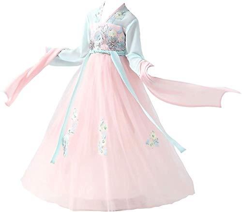 N\A ZT Vestido de Manga Corta Cheongsam Hanfu - Chica Traje Super Fairy Girl Student Elegante Estilo Chino Falda Guzheng Dance Rendimiento Disfraz de otoo e Invierno Tela cmoda, Suave y abrumado