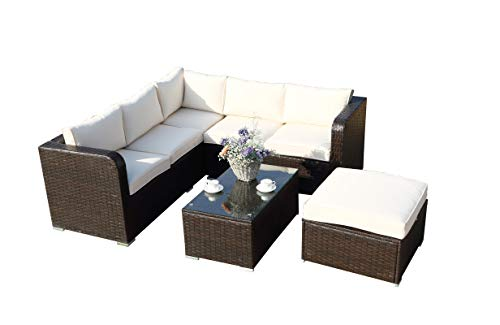 6 Seaters Corner Sofa Sunny Set with Raincover Rattan Garden Patio Outdoor Furniture Set -Mixed Brown